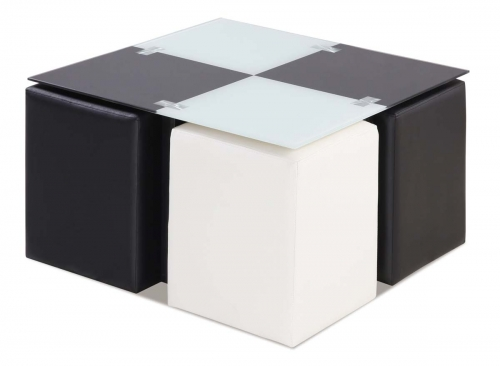 567 Coffee Table - Black and White Glass - /Metal Legs