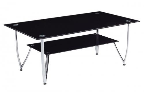 601 Coffee Table - Black Glass - Metal Legs