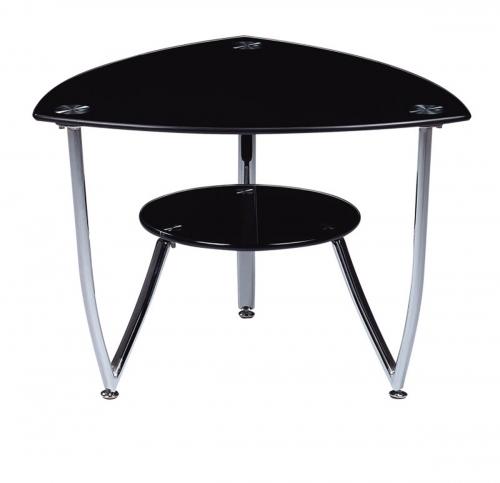 601 End Table - Black Glass - Metal Legs