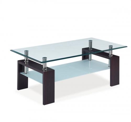 646 Coffee Table - Clear Glass - Dark Walnut Wood Legs