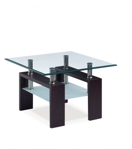 646 End Table - Frosted Glass - MDF Wood Legs