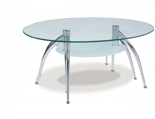 659 Coffee Table - Frosted Glass - Metal Legs