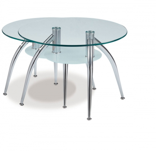 659 End Table - Frosted Glass - Metal Legs