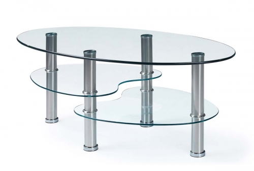 664 Coffee Table - Clear Glass - Stainless Steel Legs