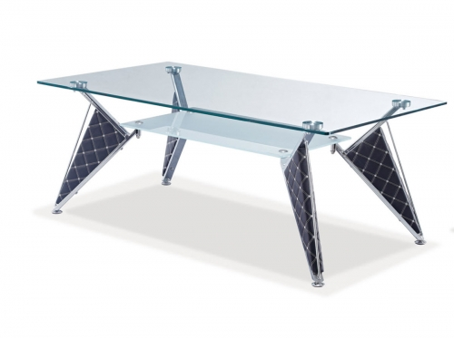 A107 Coffee Table - Frosted Glass- Silver/Black/Metal/Vinyl Legs