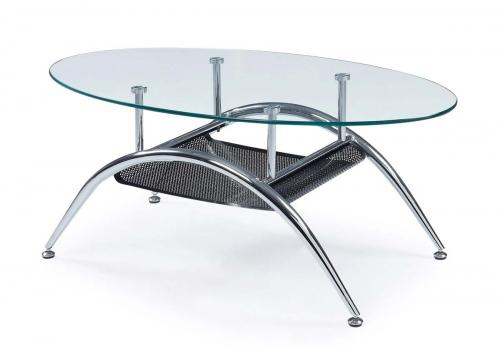 95 Coffee Table - Clear - Glass/Metal Legs