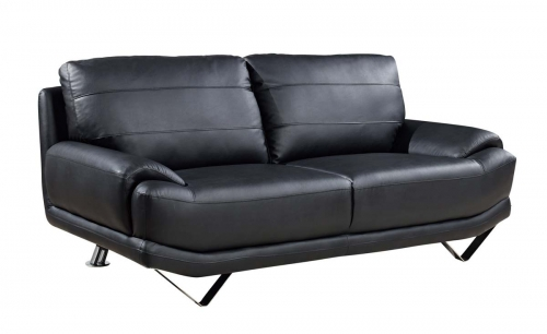 4030 Sofa - Black/Bonded Leather with Metal Legs