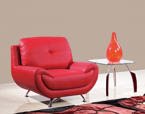 4120 Chair - Red/Bonded Leather with Metal Legs