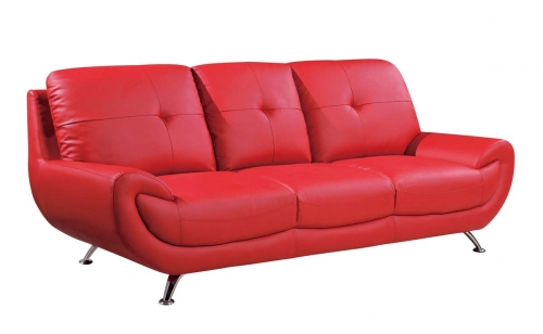 4120 Sofa - Red/Bonded Leather with Metal Legs