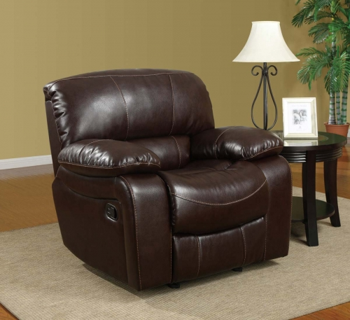8122 Glider Recliner Chair - Bonded Leather - Burgundy