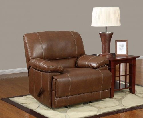 9963 Rocker Recliner Chair - Bonded Leather - Brown