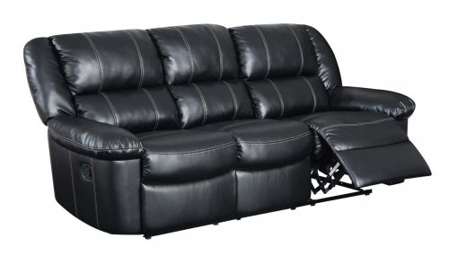 9966 Reclining Sofa - Bonded Leather - Black
