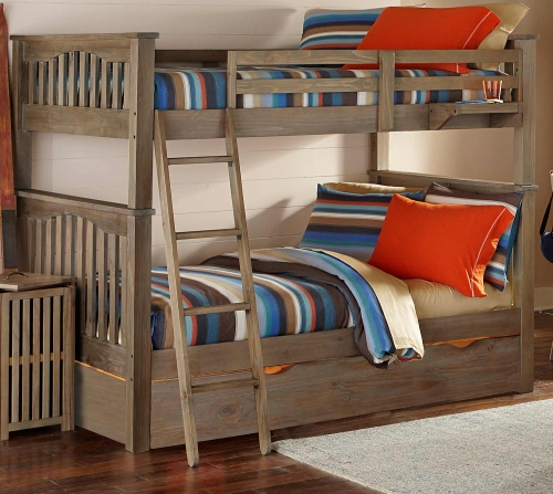 NE Kids Highlands Harper Full Over Full Bunk With Trundle - Driftwood