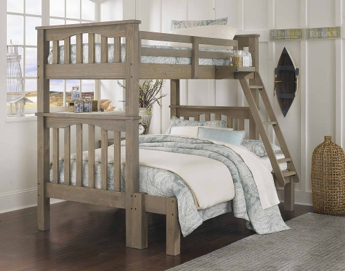 NE Kids Highlands Harper Twin Over Full Bunk (Full Extension) - Driftwood