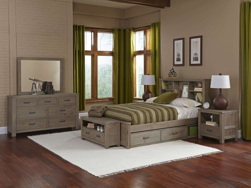 Highlands Bookcase Bedroom Set With Storage - Driftwood