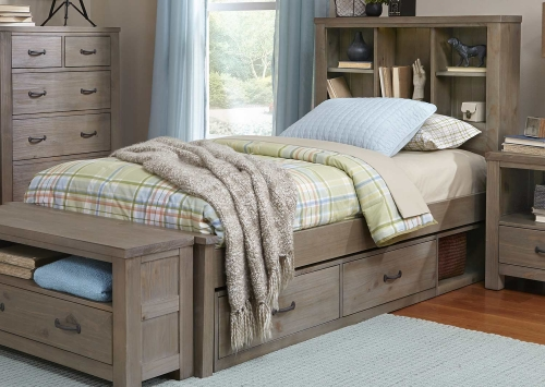 NE Kids Highlands Bookcase Bed With Storage - Driftwood