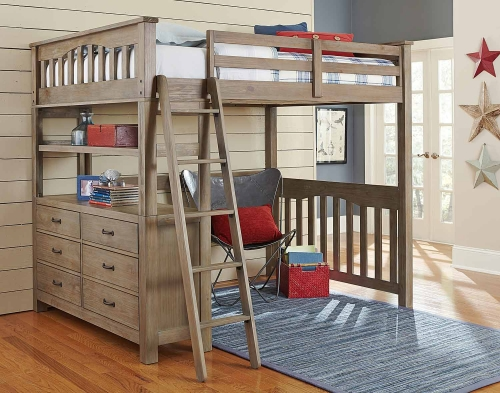 NE Kids Highlands Loft Bed - Driftwood