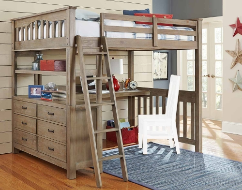 Highlands Loft Bed with Desk - Driftwood