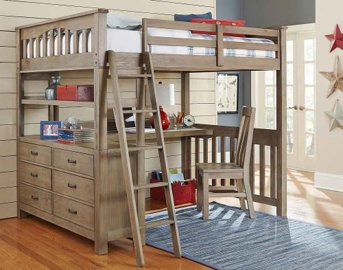 Highlands Loft Bed with Desk And Chair - Driftwood