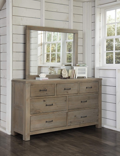 Highlands 7 Drawer Dresser with Mirror - Driftwood