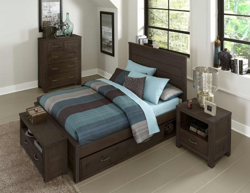 NE Kids Highlands Alex Panel Bedroom Set With Storage - Espresso
