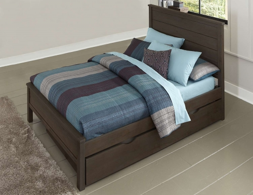 NE Kids Highlands Alex Panel Bed Wth Trundle - Espresso