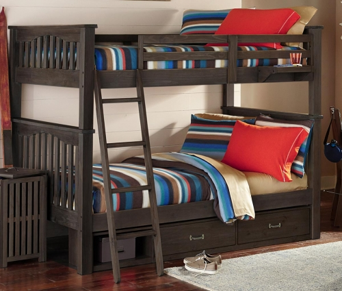 NE Kids Highlands Harper Full Over Full Bunk With Storage - Espresso