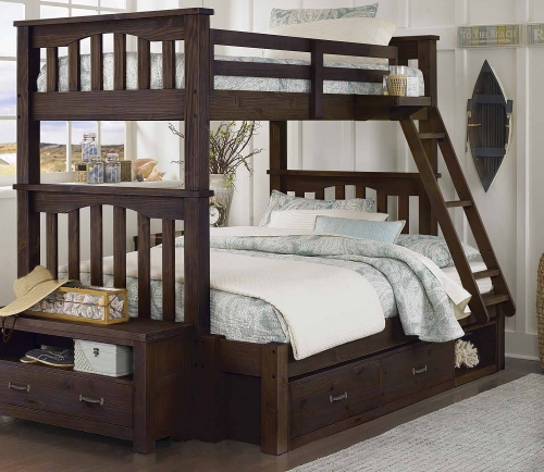 NE Kids Highlands Harper Twin Over Full Bunk With Storage - Espresso