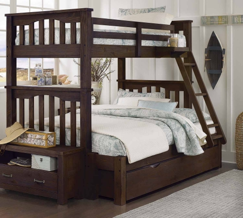 Highlands Harper Twin Over Full Bunk With Trundle - Espresso