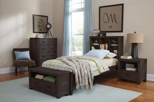 NE Kids Highlands Bookcase Bedroom Set - Espresso