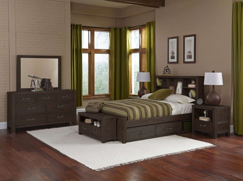 NE Kids Highlands Bookcase Bedroom Set With Storage - Espresso