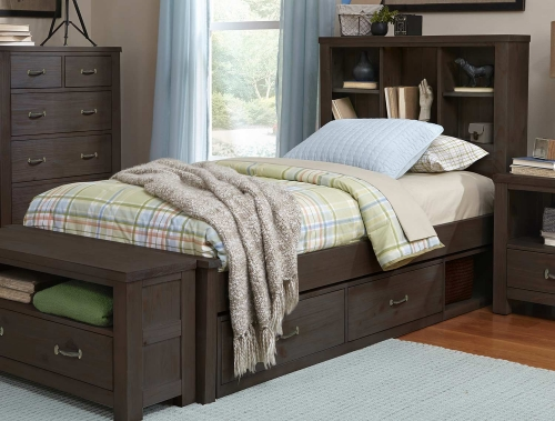 NE Kids Highlands Bookcase Bed With Storage - Espresso