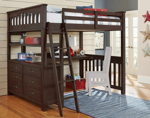 Highlands Loft Bed with Desk - Espresso