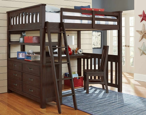 NE Kids Highlands Loft Bed with Desk And Chair - Espresso