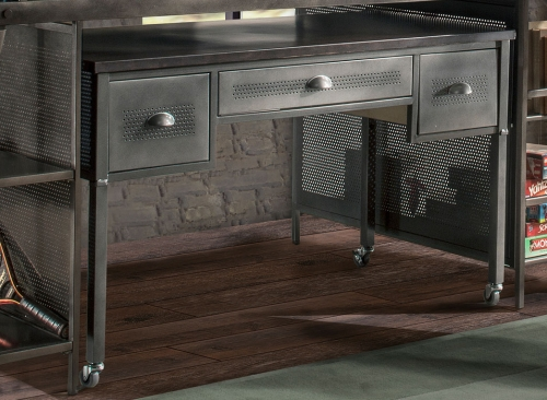 Urban Quarters Desk - Black Steel with Antique Cherry Finish Metal