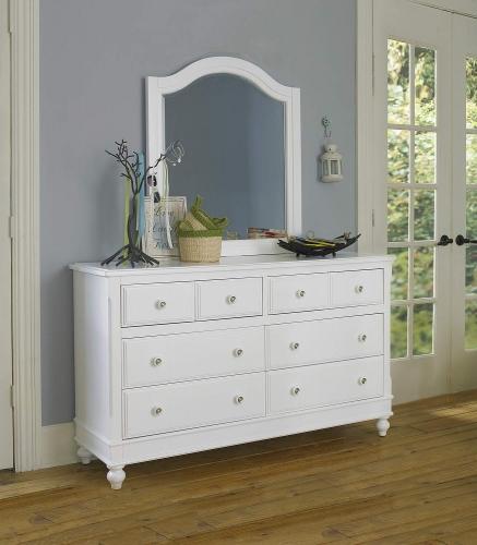 NE Kids Lake House 8 Drawer Dresser with Mirror - White