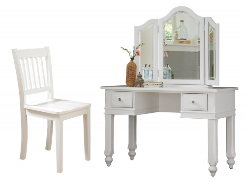 Lake House Writing Desk with Vanity Mirror and Chair - White