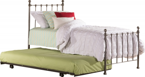 Molly Twin Bed with Suspension Deck and Rollout Trundle - Black Steel