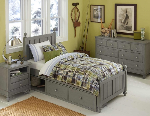 Lake House Kennedy Bedroom Set With Storage - Stone