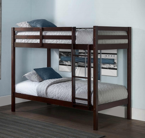 Caspian Twin Over Twin Bunk Bed - Chocolate