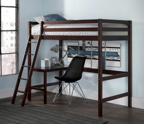 Caspian Twin Study Loft Bed With Chair - Chocolate