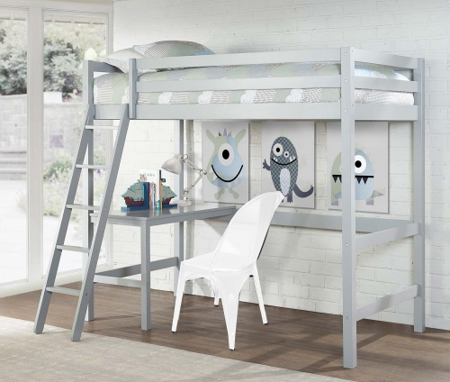 Caspian Twin Study Loft Bed - Gray