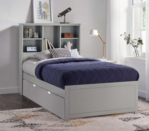 Caspian Twin Bookcase Bed with Trundle Unit - Gray