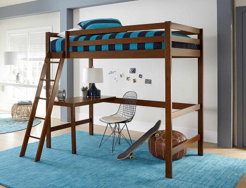 Caspain Twin Study Loft Bed - Walnut