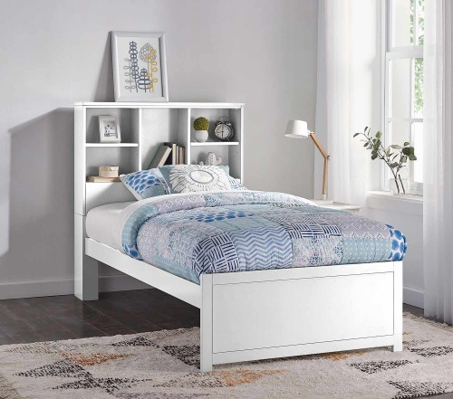 Caspian Twin Bookcase Bed - White