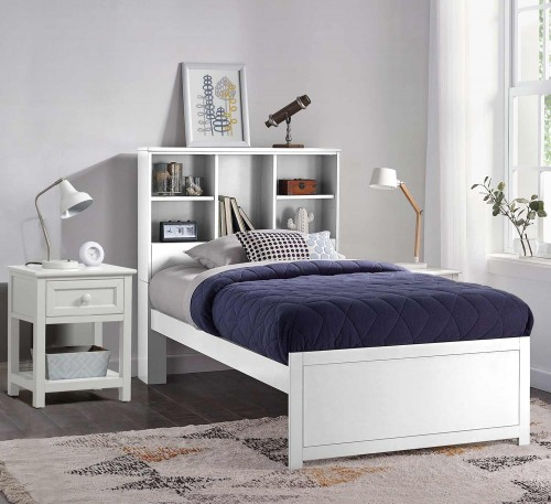 Caspian Twin Bookcase Bed with Nightstand - White