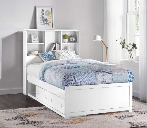 Caspian Twin Bookcase Bed with Storage Unit - White