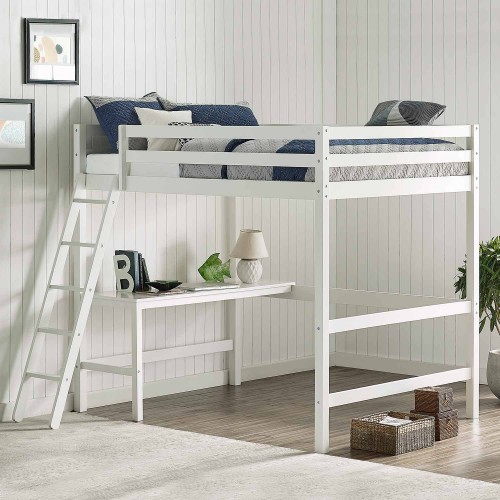 Caspian Full Loft Bed - White
