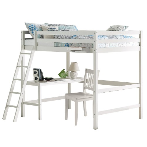 Caspian Full Loft Bed with Chair and Hanging Nightstand - White