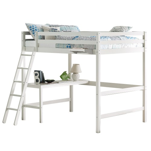 Caspian Full Loft Bed with Hanging Nightstand - White
